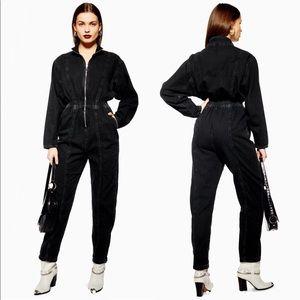 TopShop Faded Black Denim Jean Zipper Jumpsuit